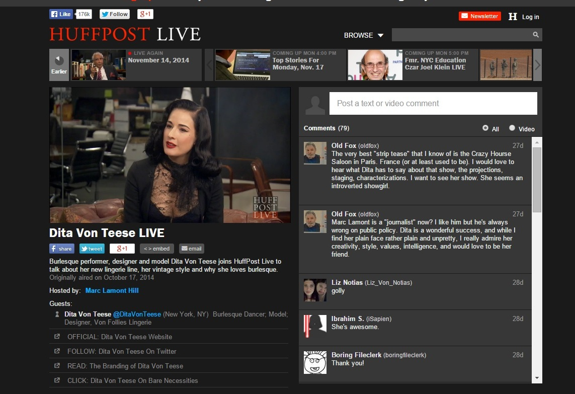 images pics dita live - Dita joins Huffington Post Live to talk about her new lingerie line